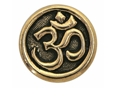 TierraCast Om Symbol<br> 5/8 inch Pewter Button<br> Gold Plated