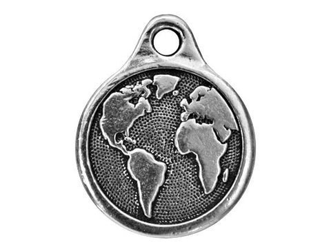 TierraCast Planet Earth 13/16 inch Pewter Drop Silver Plated Charm