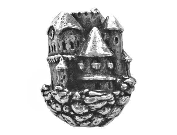 Green Girl Floating Castle 7/8 inch Pewter Bead Antique Silver Color