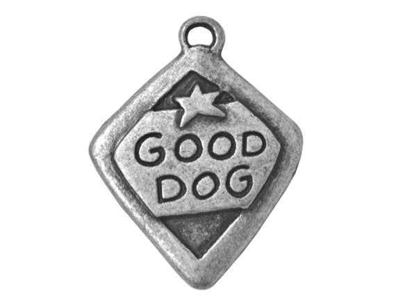 Good Dog 1 inch Metal Button Antique Silver Color