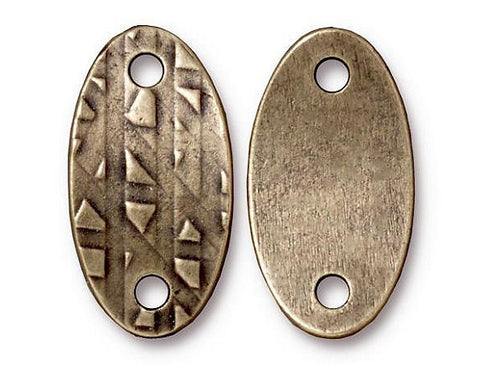 TierraCast Oval Rock & Roll ID Tag 1 inch Pewter Link Brass Plated