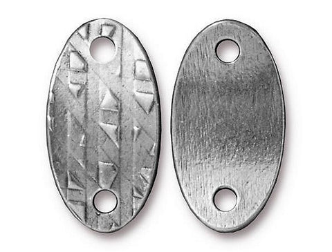 TierraCast Oval Rock & Roll ID Tag 1 inch Pewter Link Silver Color