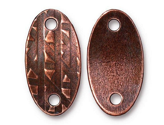 TierraCast Oval Rock & Roll ID Tag 1 inch Pewter Link Copper Plated