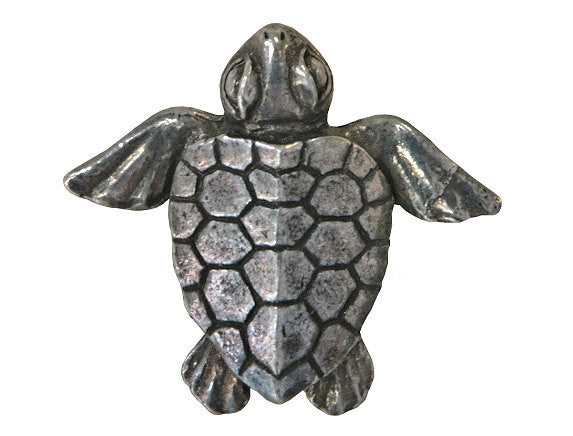 Green Girl Baby Honu Turtle 1 inch Pewter Pendant Antique Silver Color
