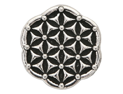 TierraCast Flower of Life 5/8 inch Pewter Button Silver Plated