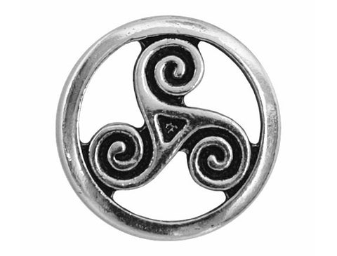 TierraCast Open Triskele 5/8 inch Pewter Button Silver Plated