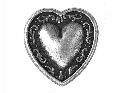 Bern Heart  3/4 inch Metal Button Antique Silver Color