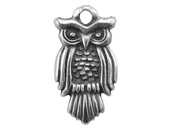Mykonos Wise Owl Large Metal Pendant Antique Silver Color