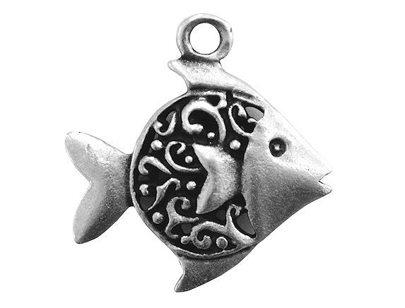 Mykonos Fancy Fish Large Metal Pendant Antique Silver Color
