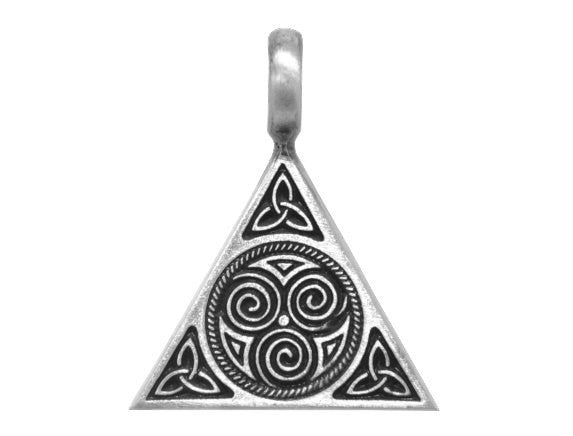 Olavi Celtic Triune Triangle Pewter Pendant Antique Silver Color