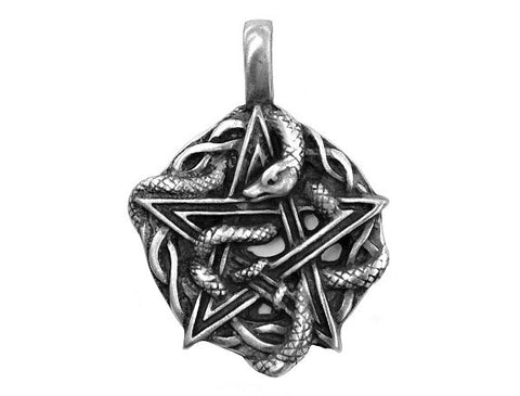 Olavi Wiccan Pentagram with Serpent Pewter Pendant Antique Silver Color