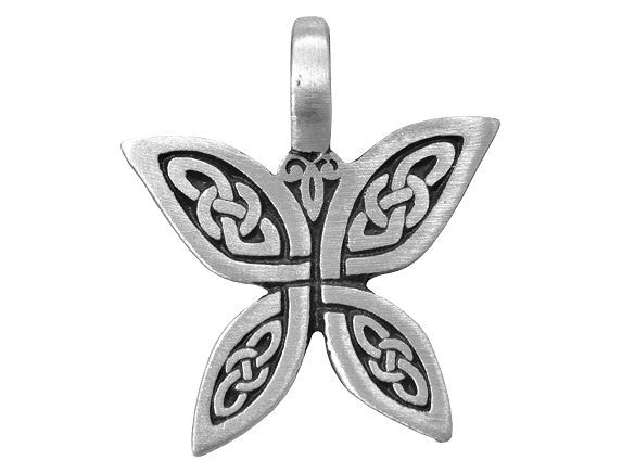 Olavi Celtic Butterfly Pewter Pendant Antique Silver Color