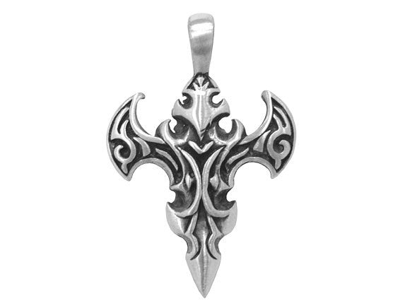 Olavi Mystic Cross Ancient Strength</br>Large Pewter Pendant</br> Antique Silver Color