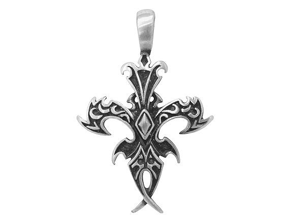 Olavi Strength Mystic Cross Cryptic Visions</br> Large Pewter Pendant</br> Antique Silver Color