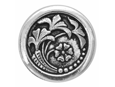 TierraCast Czech Flower 5/8 inch Pewter Button Silver Plated