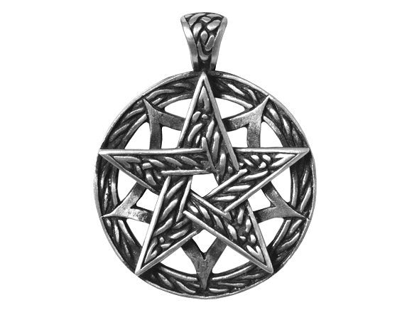 Olavi Celtic Classic Pentagram Pewter Pendant Antique Silver Color
