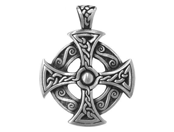 Olavi Celtic Classic Cross Pewter Pendant Antique Silver Color