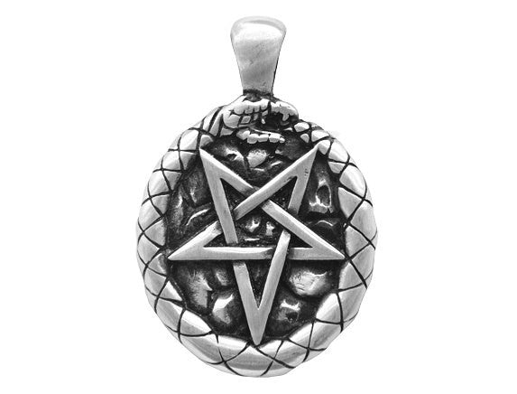 Olavi Celtic Classic Ouroboros Pentagram Pewter Pendant Antique Silver Color