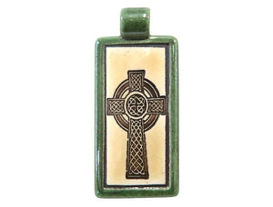 Clay River Celtic Cross Rectangle Porcelain Pendant Green Border