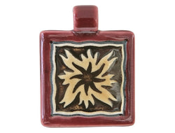 Clay River Flame <br> Square Porcelain Pendant<br> Ruby Border