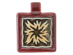 Clay River Flame Square Porcelain Pendant Ruby Border