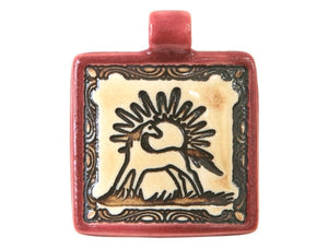 Clay River Horse and Sun Large Square Porcelain Pendant Old Brick Border