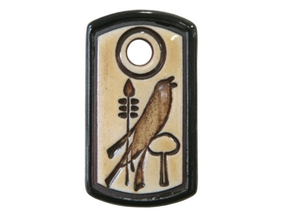 Clay River Art & Craft Crow Medium Dog Tag Porcelain Pendant Black Border
