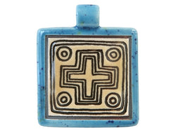 Clay River Circle Cross <br> Large Square Porcelain Pendant<br> Blue Caprice Border