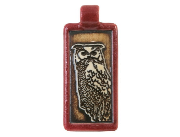 Clay River Wise Owl Rectangle Porcelain Pendant Old Brick Border