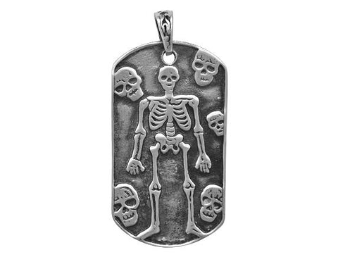 Olavi Skeleton and Skulls Pewter Pendant Antique Silver Color
