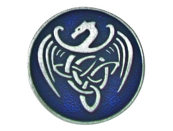 TreasureCast Celtic Dragon 13/16 inch Pewter Button Silver / Blue Color
