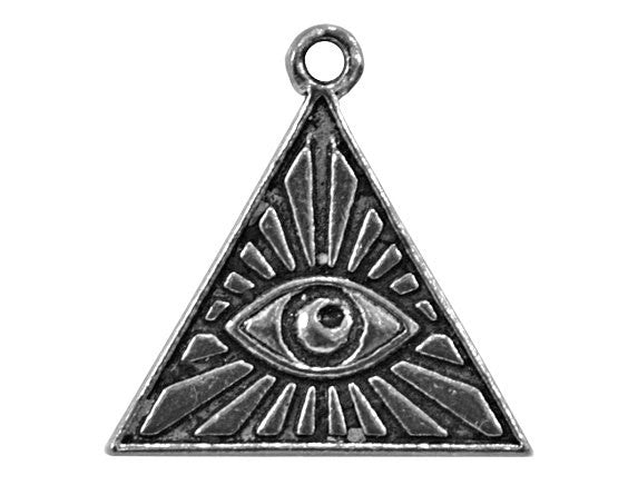 Egyptian Pyramid Eye 3/4 inch Pewter Charm Antique Silver Color