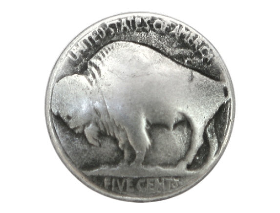 Buffalo Nickel  3/4 inch Metal Button Antique Silver Color