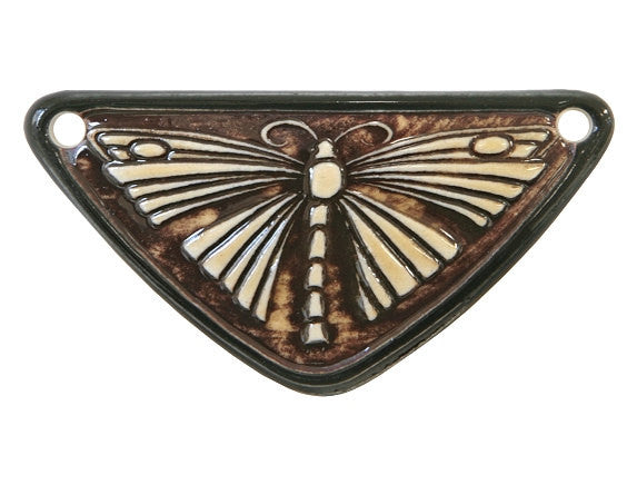 Clay River Butterfly <br> Medium Triangle Porcelain Pendant<br> Black Border