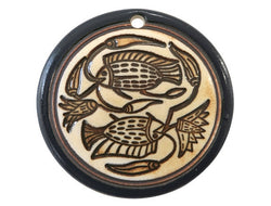 Clay River Egyptian Fish<br> Large Disc Porcelain Pendant<br> Navy Border