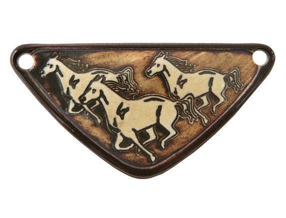 Clay River Running Horses Medium Triangle Porcelain Pendant Chocolate Border