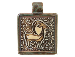 Clay River Antelope <br> Square Porcelain Pendant<br> Moss Agate Border