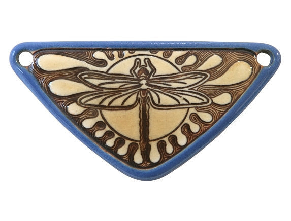 Clay River Dragonfly <br> Medium Triangle Porcelain Pendant<br> Delphinium Blue Border
