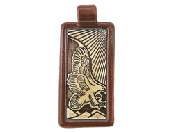 Clay River Eagle <br> Rectangle Porcelain Pendant<br> Cocoa Border