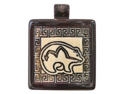 Clay River Heartline Bear Large Square Porcelain Pendant Copper Adventurine Border