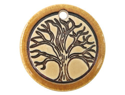 Clay River Tree Disc Porcelain Pendant Gold Border