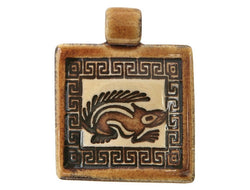 Clay River Squirrel<br> Square Porcelain Pendant<br> Ginger Bread Border