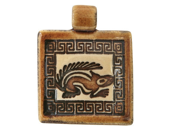 Clay River Squirrel Square Porcelain Pendant Ginger Bread Border