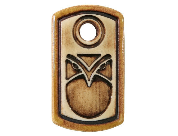 Clay River Wise Owl Medium Dog Tag Porcelain Pendant Gold Border