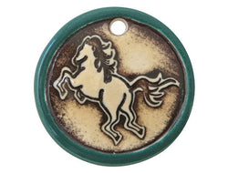 Clay River Tang Horse<br> Disc Porcelain Pendant<br> Raintree Border