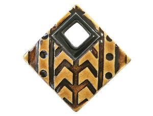 Clay River Tribal Large Textured Square Porcelain Pendant Rootbeer Border