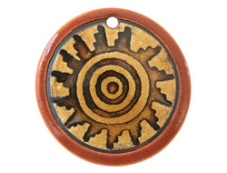 Clay River Spiral Sun<br> Large Disc Porcelain Pendant<br> Cinnamon Toast Border