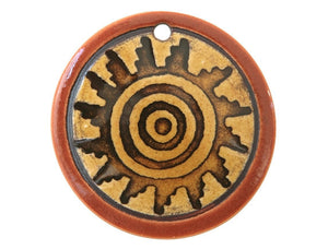 Clay River Spiral Sun Large Disc Porcelain Pendant Cinnamon Toast Border