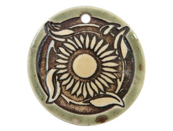 Clay River Sunflower<br> Disc Porcelain Pendant<br> Green Agate Border