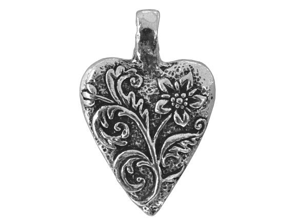 Green Girl Floral Heart Large Pewter Pendant Antique Silver Color